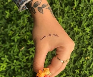 tattoo, flowers, and green image