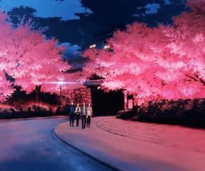 anime, light, and cherry blossom image
