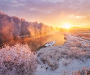 dawn, landscape, and snow image