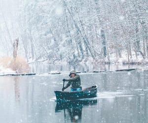 canoe, snowing, and lake image