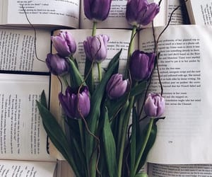 flowers, tulips, and book image