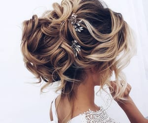 bride, sparkle, and updo image