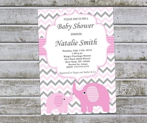 etsy, pink and gray, and baby shower invites image
