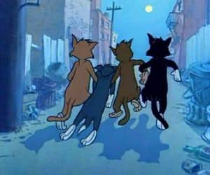cartoon, cat, and night image
