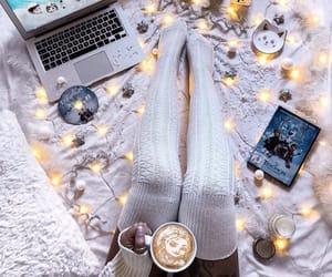 christmas, christmas lights, and coffee image