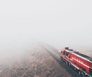 fog, railway, and red image