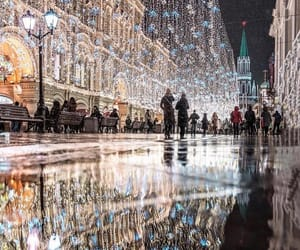 christmas, lights, and moscow image