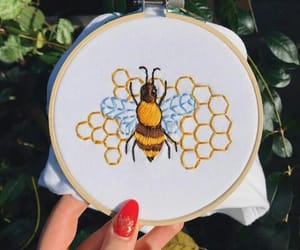 bee, honeycomb, and save the bees image