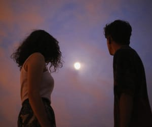 moon, couple, and sky image