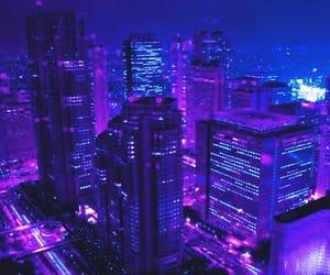 city, light, and purple image