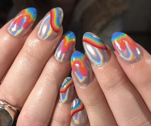 nails, rainbow, and holographic image