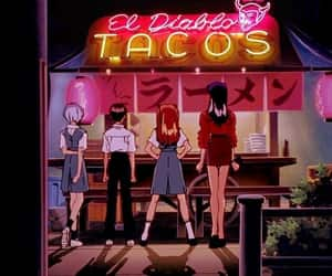 anime, evangelion, and tacos image