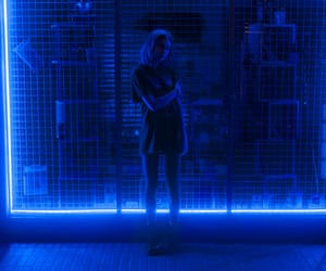 light, girl, and blue image