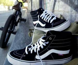 black, black and white, and sneakers image
