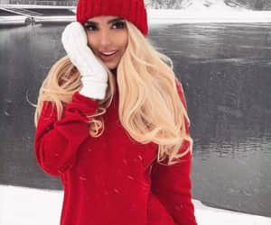 girl, red, and winter image