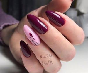 burgundy, nail polish, and nails image
