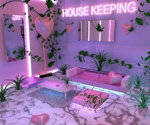 pink, neon, and plants image