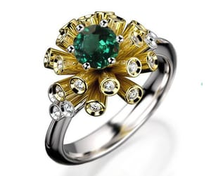etsy, gold jewelry, and emerald ring image