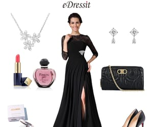 split, 3 4 sleeves, and lace formal gown image