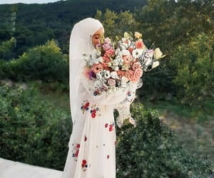 beauty, flowers, and muslim image