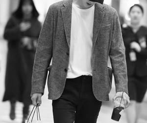 airport, black & white, and oh sehun image