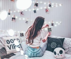 girl, lights, and bedroom image