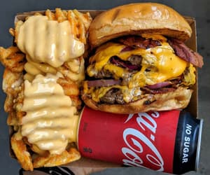 burger, cheese, and coca cola image