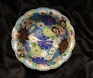 blue flowers, vintage bowl, and decorative bowl image