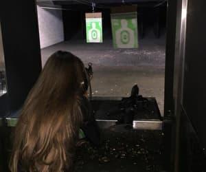 girl, hair, and gun image