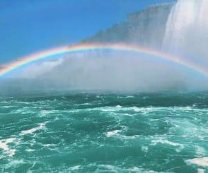 ocean, water, and rainbow image
