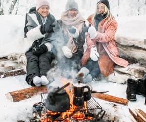 campfire, snow, and tea image