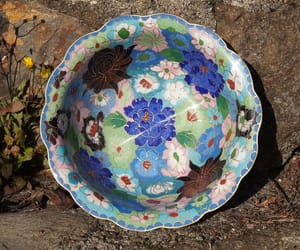 blue flowers, vintage bowl, and etsy image