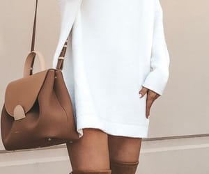 white, knee high boots, and jumper dress image