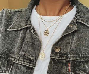 denim jacket, gold chain, and levis image