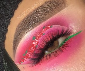 eyebrows, eyes, and flowers image