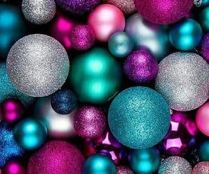 christmas, metallic, and ornaments image