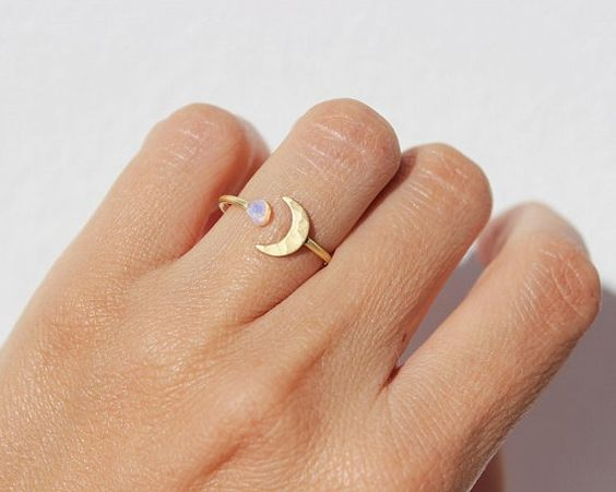 moon, ring, and opal image