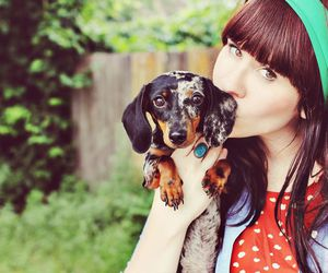 girl and puppy image