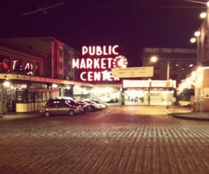 neon sign, seattle, and night image