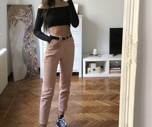 black top, converse, and jeans image