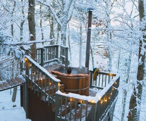 outdoors, snow, and treehouse image