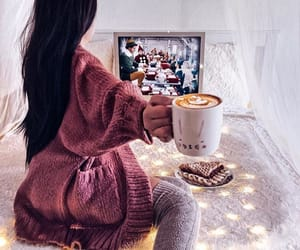 brunette, coffee, and girl image