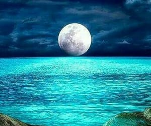 blue, moon, and night image