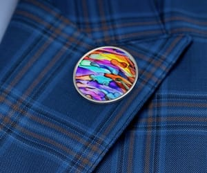 lapel pin, alcohol ink art, and fun accessories image