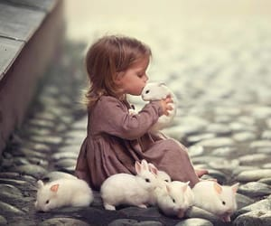 girl, rabbit, and bunny image
