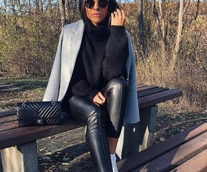 coat, leather, and outfit image