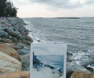 beach, polaroid, and rocks image