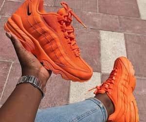 nike, orange, and sneakers image