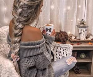 cofee, girl, and hair image
