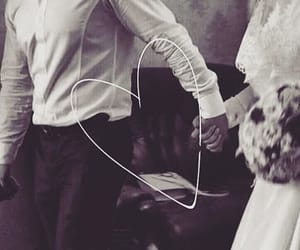 black and white, couple, and wedding image